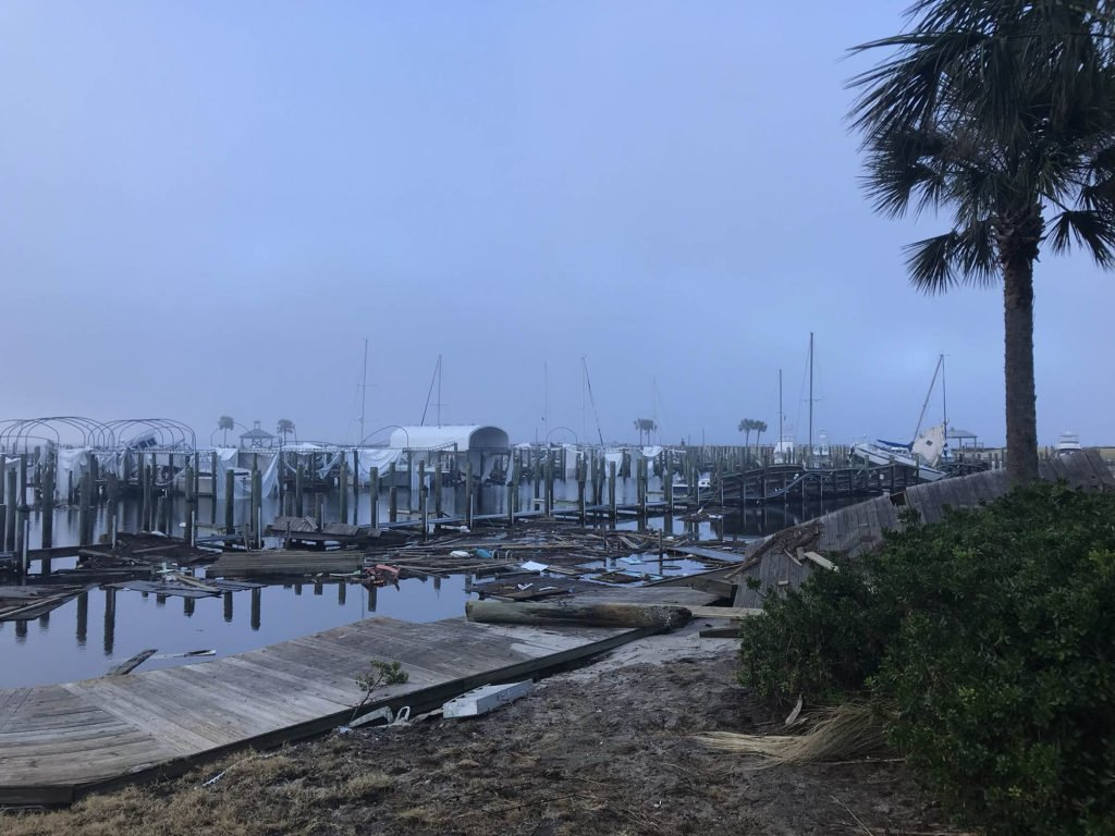 Port St Joe marina damaged from Hurricane Michael
